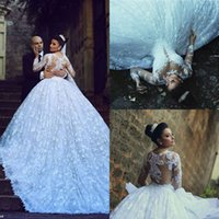 Wholesale Stylish Lace Applique Ball Gown Wedding Dresses With Long Sleeve Sheer Plunging Neck Beads Sequin Cathedral Train Bridal Gown
