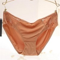 Wholesale Ladies Lace Waist Panty - Sexy Milk Silk panties woman underwear briefs lady Cotton Low Waist Lingerier Seamless T panty V-string