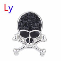 Wholesale Black Bead Skull Necklace - 18mm Snap On Charms for Bracelet Necklace Hot Sale DIY Findings Black rhinesto Snap Buttons Jewelry Halloween Skull Design noosa AC144