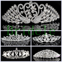 Wholesale Hair Claw Korean - 2016 New Arrival Fashion Korean Rhinestone Crystal Tiara Crown Bridal Wedding Accessories Free Shipping