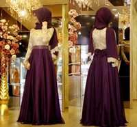 Wholesale Vestidos Crepe Plus Size - Long Sleeves Muslim Evening Dresses 2016 Jewel Neck Lace Chiffon Floor Length Plus Size Grape Prom Dresses Hijab Formal Gowns Vestidos 2016