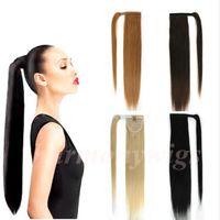 hintli insan saç tokası uzantıları toptan satış-Brezilyalı saç At Kuyruğu İnsan Saç Ponytails 20 22 inç 100g Düz Hint Klip Saç Uzantıları daha fazla renk