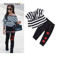 Wholesale Tutu S Roses - New Arrival 2018 Fashion Girls Striped T-shirts Tops + Rose Flower Pants 2piece Set Children Girl's Outfits Long Sleeve Black A8087