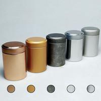 Wholesale Tea Tins Wholesaler - 45*67mm Round Column Small Tea Tin Box Metal Tin Candy Storage Boxes Seal Lip Pocket Carry Case Silver Free Shipping ZA3430