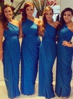 Wholesale Sexy Wedding Desses - 2016 Ruched One-Shoulder Sheath A-Line Long Bridesmaid Desses Blue Chiffon elegant Prom Wear Sexy Party Dress For Wedding No Sleeve Cheap