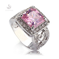 Wholesale Pink Kunzite Rings - Trendy Pink Kunzite Cubic Zirconia fashion Silver Plated ring 371 sz# 6 7 8 9 Recommend Promotion Favourite