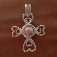 medallones de plata real al por mayor-El colgante del deseo del trébol de cuatro hojas de plata 925 con el perla / el colgante redondos verdaderos de agua dulce de 6-6.5m m / puede abrir el Locket-P6s de la perla