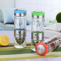 Wholesale Glass Bottles For Lid - My water bottle 500ml Stainless steel glass water bottle lemon cups with lid juicer bottles shaker for outdoor drinkware healthy