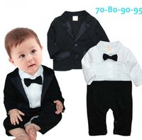 Wholesale Color Baby Romper Tie - 2015 Spring Autumn Baby Boys Cotton Romper The Gentleman Tie Kids Good Quality Long Sleeved Children Clothing B001