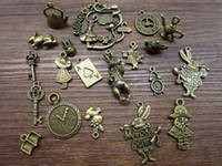 Wholesale Charms Alice Wonderland - Wholesale-Mix 20 40pcs of Alice Rabbit Charms Bronze Silver Alice in Wonderland Charm Pendants, Clock ,Key,Teapot