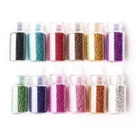 Wholesale Nail Tools Suit - Fashion 12pcs lot color solid color suit caviar Beads Nail Art Tips Acrylic Glitter DIY Decoration Nail Tools Free Shipping DHL 60021