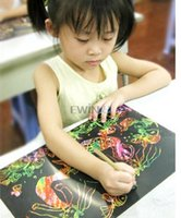 Wholesale Hot Selling sheet set K Colorful Scratch Art Paper Magic Painting Paper with Drawing Stick x25cm