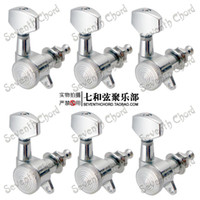 Wholesale Wholesale Electric Guitar Tuner - A set of 6R Chrome Lock String Guitar Tuning Pegs keys Tuners Machine Heads for Electric Guitar Lock Schaller Style