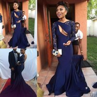 Wholesale royal blue silk evening dresses for sale - Group buy Charming Long Sleeve Mermaid Evening Dresses Lace Backless Formal Celebrity Evening Gowns Court Train Special Occasion Dresses Prom Dresses