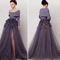 Wholesale Sexy Purple Split Front Dress - 2015 Prom Party Evening Purple Long Sleeve Front Side Split Tulle Evening Gown Azzi & Osta Appliqued with Handmade Flower SX585