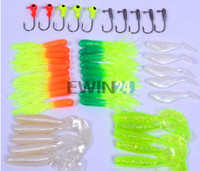 Wholesale Saltwater Lures Heads - Soft Worm Lure Carp Fishing Lure Set + 10 Lead Head Jig Hooks Simulation Suite Soft Fishing Baits Set Tackle Pesca