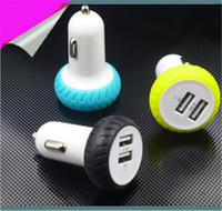 Novo 2016 Dual USB Car Charger Adapter Tire Design Bullet Double USB 2-Port para iphone 6 6s Plus Samsung S6 Edge S5 Andriod V8 HTC Blackberry