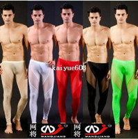 Wholesale Tight Long Underwear - any 1pcs mens see through pants pajamas long pants tight sleepwear sexy Sleep Bottoms for men trunk sleep shorts mesh underwear