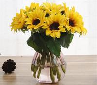 "Wholesale artificial single stem flowers - Silk Single Stem Sunflower 22cm 8.66"" Length 30Pcs Artificial Flowers Mini Sunflowers for DIY Bridal Bouquet Home Xmas Party Decor"