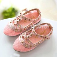 Wholesale Laced Piercing Girl - Wholesale-Summer girl sandals Fashion baby lace pierced rivets party princess dance shoes cute casual school girls shoes freeshipping