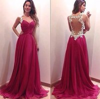 Wholesale Dark Ivory Wedding Dress - 2015 Evening Dresses Backless Wedding Party Dresses Cheap Dresses Evening Wear Sweetheart Dark Red Evening Gowns with Ivory Appliques