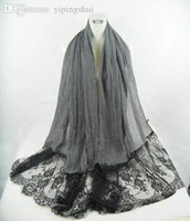 Wholesale Shawl Lace Hijab - Wholesale-(free shipping)New lblack lace muslim shawl ,hijab ,scarf 180*100cm viscose can choose colors