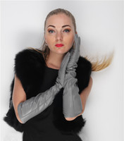 "Wholesale Long Genuine Leather Gloves - 47cm(18.5"")long long lines fashion genuine goat leather gloves long evening gloves light grey"