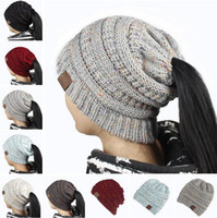 Wholesale Blue Pony Tail - New Women CC Ponytail Caps CC Knitted Beanie Fashion Girls Winter Warm Hat Back Hole Pony Tail Autumn Casual Beanies