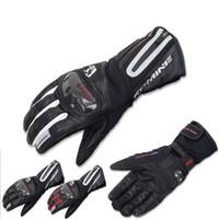 guantes blancos largos y calientes al por mayor-2016 Nuevo KOMINE GK-795 estilo largo guantes de motocicleta de campo a prueba de viento caballero que monta el guante y se mantiene caliente en invierno negro rojo blanco