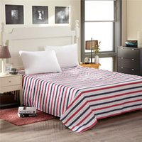 Wholesale Striped Full Flat Sheet - Wholesale and retail solid color and stripes flat sheet 100% cotton full queen king size bed sheet bed cover mattress cover