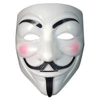 trajes do dia das bruxas caras venda por atacado-New Arrive Vendetta máscara máscara anônima de Guy Fawkes Halloween fantasia vestido branco branco 2 cores