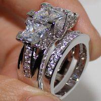 anéis de prata de declaração venda por atacado-EXCLUSIVO 925 Sterling Silver Square Simulado Diamante CZ Pavimentada 2 Declaração de Casamento Anel de Banda Conjuntos de Jóias para As Mulheres