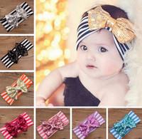 Wholesale Headbands Free Ems - EMS Free Ship 2015 New Fashion girls Bow headbands baby sequins bowknot headband girls Striped cotton headbands Handmade baby headbands
