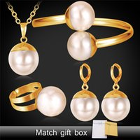 Wholesale Gold Plated Bridal Wedding Sets - U7 Pearl Necklace Set Women Jewelry New Trendy Platinum 18K Real Gold Plated Necklace Bracelet Earrings Ring Bridal Jewelry Sets