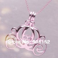 Wholesale Necklace Mounting - POP! 18kgp Carriage Locket Pumpkin Caravan Pearl Bead Locket Cage Pendant Mounting for Jewelry, Bracelet Necklace, Free Shipping