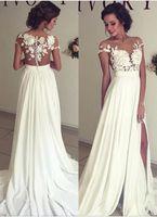 Wholesale Bohemian Long Dresses Sale - 2018 Hot Sale Bohemian Chiffon Wedding Dresses Cheap Sheer Crew Neck Lace Appliques High Spplit Illusion Back Boho Beach Long Bridal Gowns