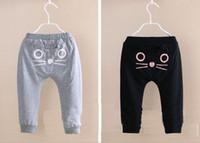 Wholesale Kids Haren Pants - Hot Sale Baby casual pants cute cat design pants kids haren pants 100% cotton children trousers black gray 2 colors