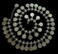ingrosso catene di danza del ventre-Gypsy Silver Metal Ciondola monete Catene per pancia 43 pezzi monete Hippie Boho Bohemian Shimmy Belt campana cintura da ballo catena catena del corpo