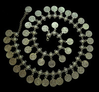 Wholesale Metal Belly Dancing Coin Belt - Gypsy Silver Metal Dangle Coins Belly Chains 43pieces coins Hippie Boho Bohemian Shimmy Belt bell dance belt chain body chain