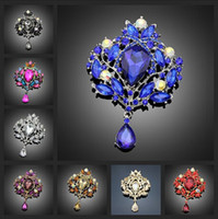 Wholesale Vintage Style Big Water Drop Brooches For Women Jewelry Colorful Flower Brooch Pin Rhinestone Crystal Broach Wedding brooch