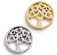 20pcs / lot Silver Gold Plated Heart Family Tree Flutuante Charms Window Plates Fit For Magnetic Memory Locket de vidro