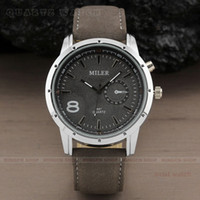 Wholesale Aviator Watch Bands - Hot sale Fashion Military Pilot Aviator Army Style Dial Scrub Leather Band Quartz Analog Casual Outdoor Sport Men watch