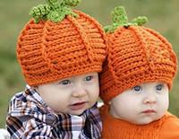 Wholesale Handmade Gifts For Newborn Babies - Toddler Beanie Hats Handmade Cute Newborn Baby girl Crochet Knit pumpkin Hat in jacinth for Halloween gift Photography props Drop Shipping