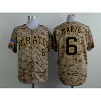 Wholesale Cheap Camo Uniforms - Pirates #6 Marte Baseball Jerseys Camo Sports Jerseys Stylish Baseball Jerseys New Style Cheap Baseball Apparel Outdoor Uniform