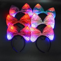 Wholesale mice ears headband - Women GirlsLED Light Up Sequin Bowknot Mouse Ears Headband Hair Accessories Birthday Rave Party Halloween Wedding Led Rave Hair Accessories
