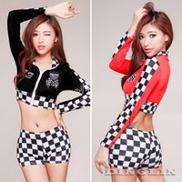 Wholesale Sexy Racing Uniform - New Promotion Sexy Women Lady Racing Driver Uniform Costumes Babydoll Clothing Set Erotic Sleepwear Pajamas Nightgown Suit 4082
