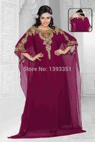 Wholesale Dark Purple Loose Beads - 2016 Shinning Crystal Beads Luxury Kaftan Dubai Arabic Muslin Prom Dresses Crew Neck Long Loose Custom Made Formal Evening Gowns