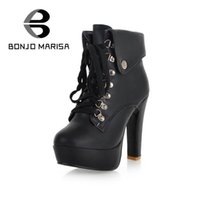 Wholesale Thick Punk Boots - Wholesale- BONJOMARISA Extra Size 31-43 Women Sexy High Thick Heel Winter Fur Boots Woman Platform Winter Shoes With Fur Ankle Punk Boots