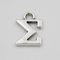 Wholesale Greek Letters Charms - Wholesale Vintage Greek Letter Charms Alloy Sigma Shape Charms 100pcs AAC835