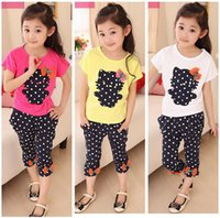 Wholesale Kids Tops Leggings Wholesale - Girl Clothes Children Set Kids Suit Outfits Top+Leggings 2 PCS Baby Girl Summer Clothing 4 Colors For 1~7 Y Kids